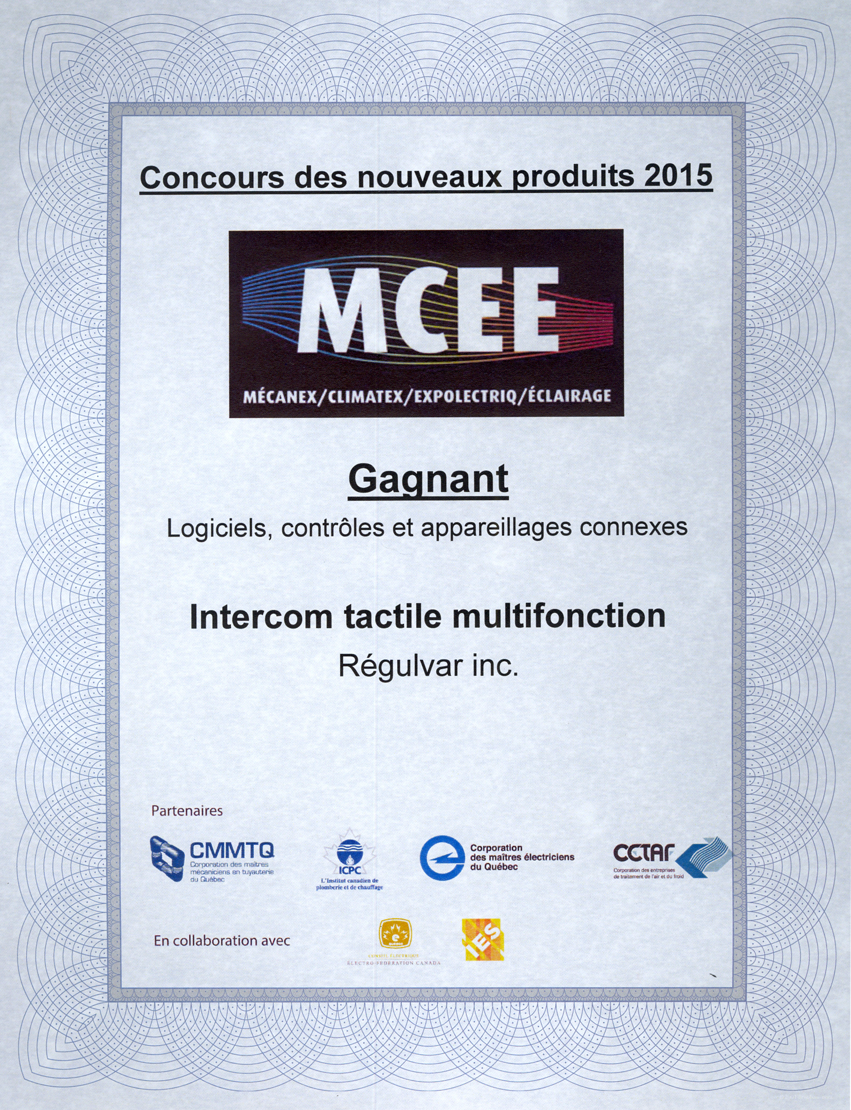 MCEE 2015: A prize for Regulvar's intercom